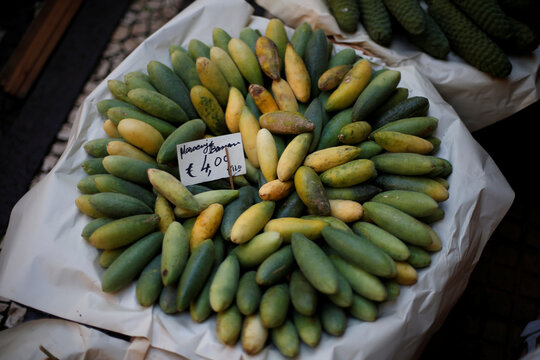 Banana passion fruits are shown at Lavradores market in Funchal