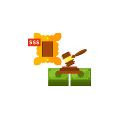 Gavel, money and lot as auction concept icon