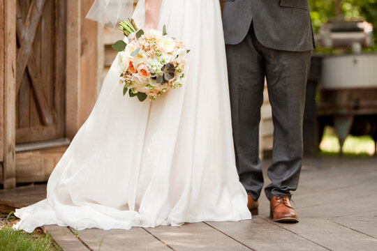 Bride and groom standing together after ceremony