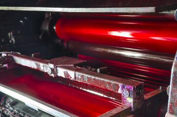 offset machine press print magenta ink unit rollers