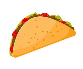 Traditional Mexican food is taco. Cartoon image of a taco on a white background. Vector illustration.