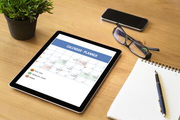 calendar planner screen tablet on desktop