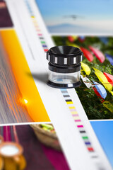 Color patch bars on offset print sheet and magnification loupe