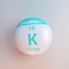 3D rendering periodic table icon potassium