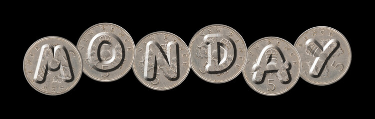MONDAY – Coins on black background