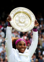 Women's Singles - USA's Serena Williams celebrates with the trophy after winning the Final