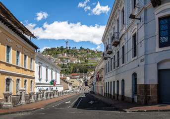 Street of Quito and Monument to the Virgin Mary on the top of El Panecillo Hill - Quito, Ecuador