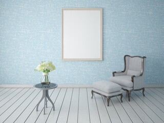 Mock up a retro living room with a classic armchair and blue wallpaper.
