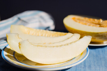 Sweet Yellow Melon Slices Healthy Food