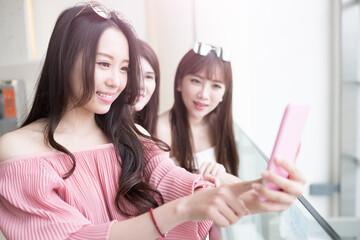 women selfie in mall