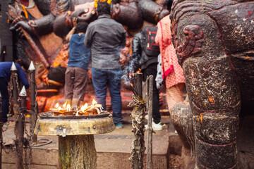 Foto op Aluminium Imagination People praying in Durbar Square of Kathmandu, Nepal