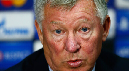Manchester United's manager Sir Alex Ferguson during the press conference