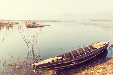 Boat on asian lake