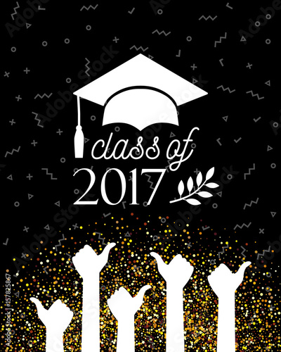 Class Of Graduate Banner With Hat Laurel And Hands With Thumbs - Graduation banner template