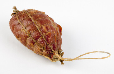 smoked ham on white background