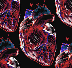 Realistic human hearts drawn by hand. Seamless texture. Repeated pattern. It can be used as wallpaper, printing, wrapping, fabric or background for your blog and your design.