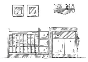 Children's room. Children's furniture. Crib, changing table. Hand drawn vector illustration of a sketch style.