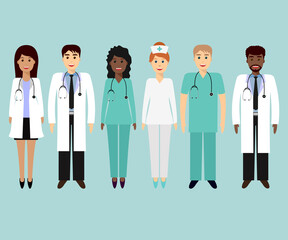 Medical characters flat people. Group of doctors and nurses. Medical team concept in flat design, set.