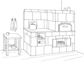 Tiled stove in a corner. Vector illustration in sketch style