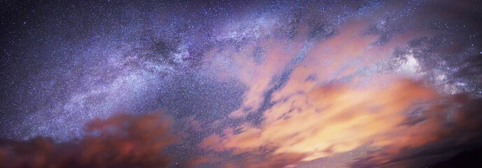 Starry sky above the earth