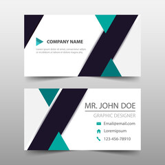 Green corporate business card, name card template ,horizontal simple clean layout design template , Business banner template for website