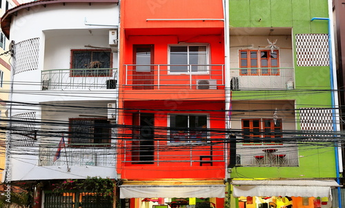 Colorist Building From The French Colonial Era Downtown Vientiane