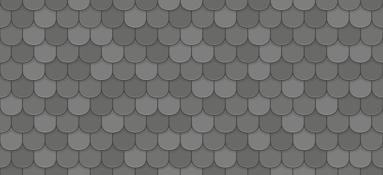 Black roof tiles seamless pattern
