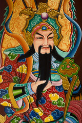 Pictures from public places, Mural Painting about the religious beliefs of the Chinese shrine.