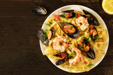 Seafood pasta with mussels and shrimps