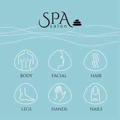 SPA salon. Spa and massage, Bodycare, Beauty Salon, Wellness conceptual banners set with flat style design icons. Healthcare salon, haircut, skin care, herbal therapy, cosmetics vector items