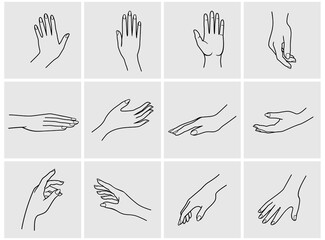 hands icon set. Hand collection - vector line illustration