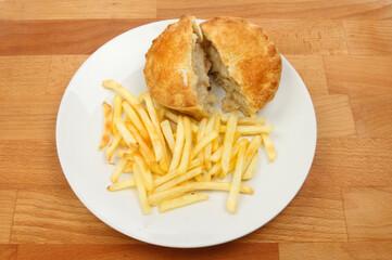 Chicken pie and fries