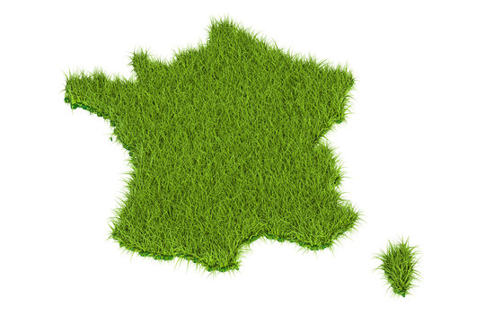 France map from green grass, 3D rendering