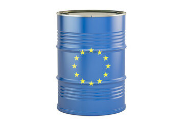 Oil barrel with flag of EU. Trade concept, 3D rendering