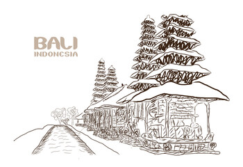 Hand drawn sketch of Bali Indonesia in vector illustration.