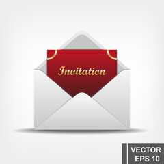 Envelope with an invitation letter. Realistic vector illustration.