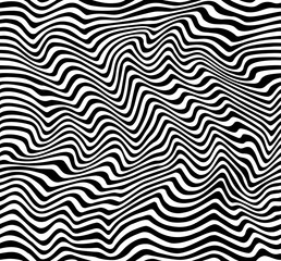 Op Art Stripes Pattern in Black and White