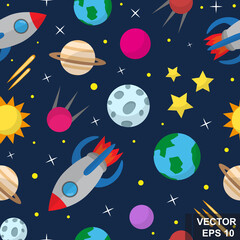 Seamless space pattern. Children's. For your design.