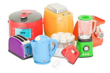 """Set of colored kitchen home appliances. Toaster, kettle, mixer, blender, """"yogurt maker"""", multicooker, grinder, bread machine, 3D rendering"""