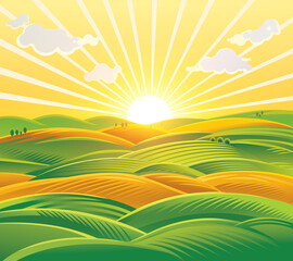 Wall Murals Melon Countryside landscape, fields and hills at dawn. Raster illustration.