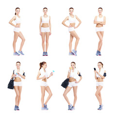 Young, sporty and fit girl in white underwear. Isolated background. Set collection. Fitness Concept.