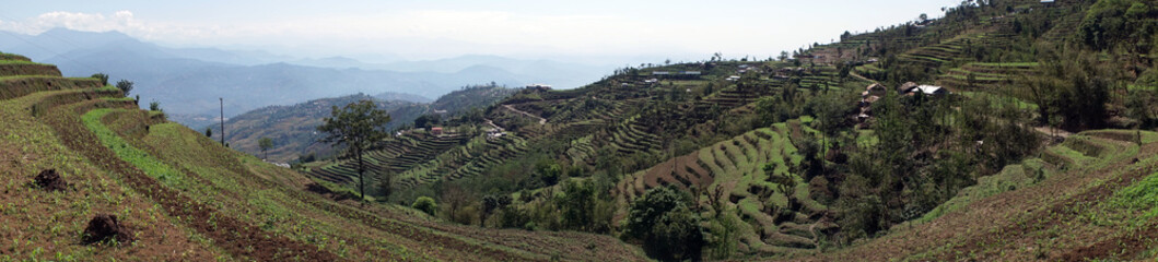 Terraces and village in mountain