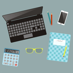 Laptop and оffice stationery. Workplace. Top view. Vector illustration.