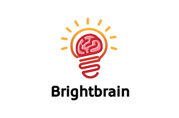 Bright Brain Logo Design Illustration