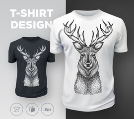 Black modern t-shirt print design with deer
