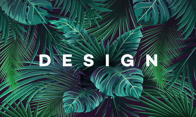 Bright tropical background with jungle plants. Exotic pattern with palm leaves. Wall mural