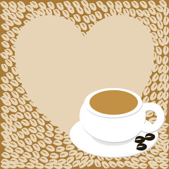A heart with copy space and a cup with coffee beans