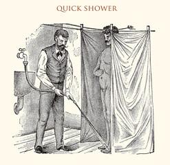 Quick showerr,vintage illustration