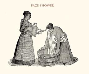 Facial shower, vintage illustration