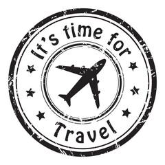 Travel time, grunge postal stamp icon, black isolated on white background, vector illustration.